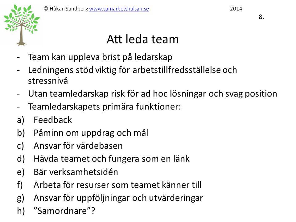 © Håkan Sandberg www.samarbetshalsan.se 2014 8. Att leda teamwww.samarbetshalsan.se -Team kan uppleva brist på ledarskap -Ledningens stöd viktig för a