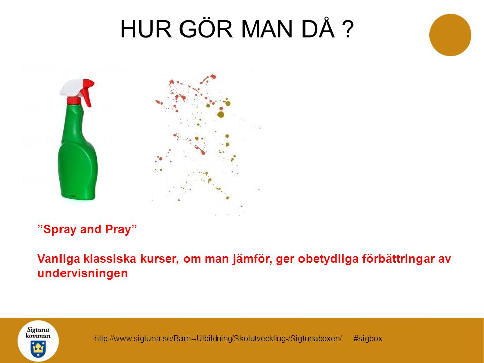 """""""Spray and Pray"""" Vanliga klassiska kurser, om man jämför, ger obetydliga förbättringar av undervisningen HUR GÖR MAN DÅ ? http://www.sigtuna.se/Barn--"""