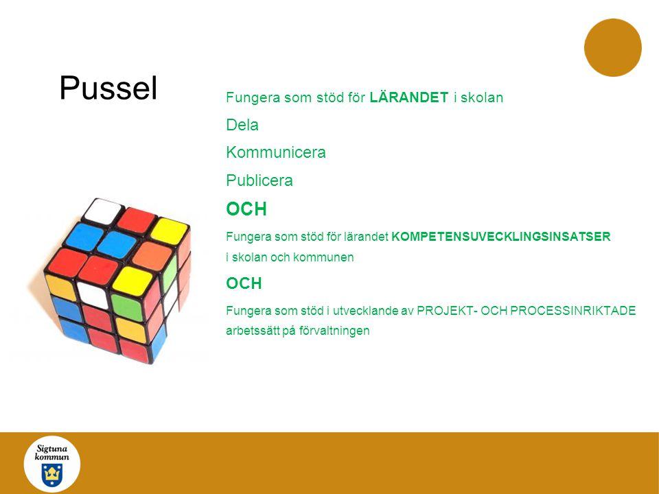Pussel Fungera som stöd för LÄRANDET i skolan Dela Kommunicera Publicera OCH Fungera som stöd för lärandet KOMPETENSUVECKLINGSINSATSER i skolan och ko