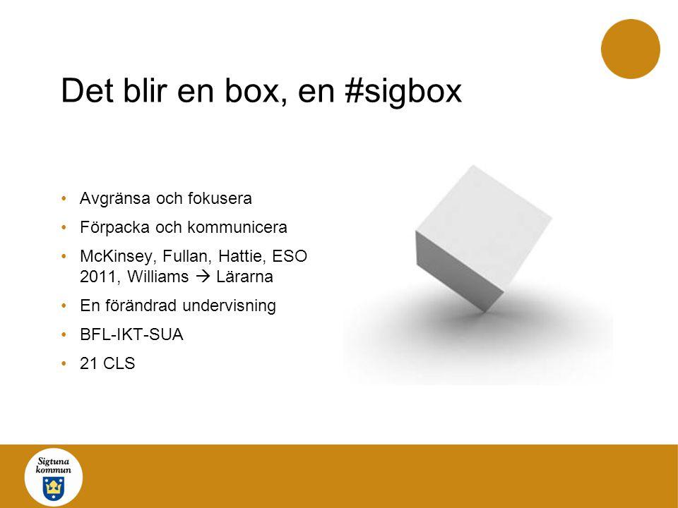 Det blir en box, en #sigbox Avgränsa och fokusera Förpacka och kommunicera McKinsey, Fullan, Hattie, ESO 2011, Williams  Lärarna En förändrad undervi