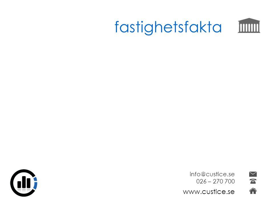 fastighetsfakta info@custice.se 026 – 270 700 www.custice.se