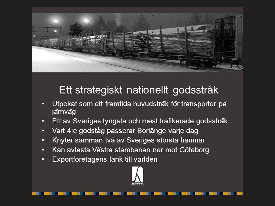 Ett strategiskt nationellt godsstråk Utpekat som ett framtida huvudstra ̊ k fo ̈ r transporter pa ̊ ja ̈ rnva ̈ g Ett av Sveriges tyngsta och mest tra