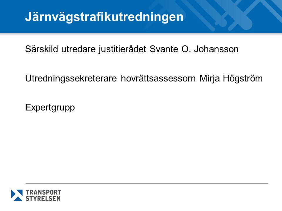 Järnvägstrafikutredningen Särskild utredare justitierådet Svante O. Johansson Utredningssekreterare hovrättsassessorn Mirja Högström Expertgrupp