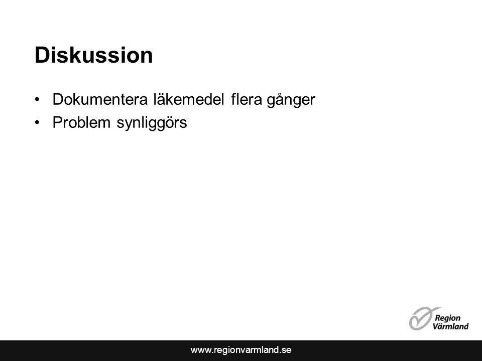 www.regionvarmland.se Diskussion Dokumentera läkemedel flera gånger Problem synliggörs