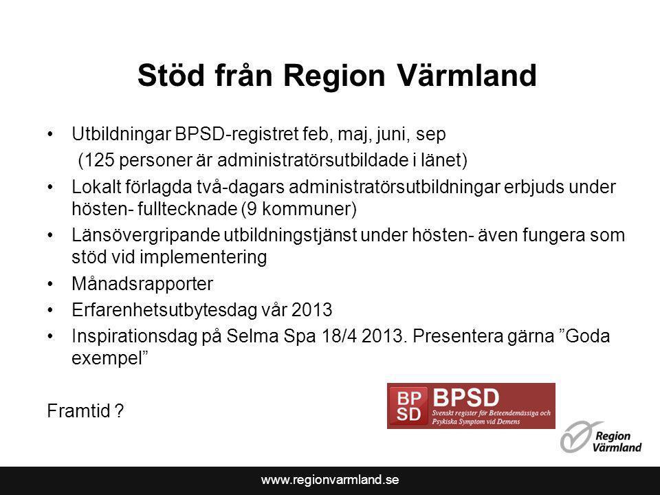 www.regionvarmland.se Stöd från Region Värmland Utbildningar BPSD-registret feb, maj, juni, sep (125 personer är administratörsutbildade i länet) Loka