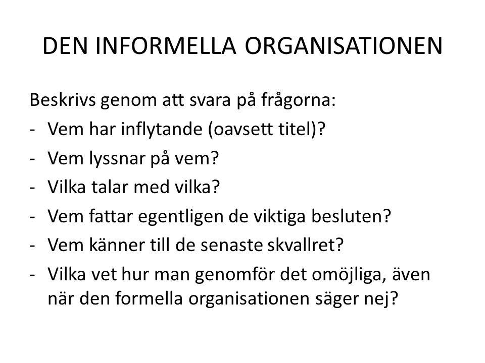 DEN INFORMELLA ORGANISATIONEN Beskrivs genom att svara på frågorna: -Vem har inflytande (oavsett titel)? -Vem lyssnar på vem? -Vilka talar med vilka?