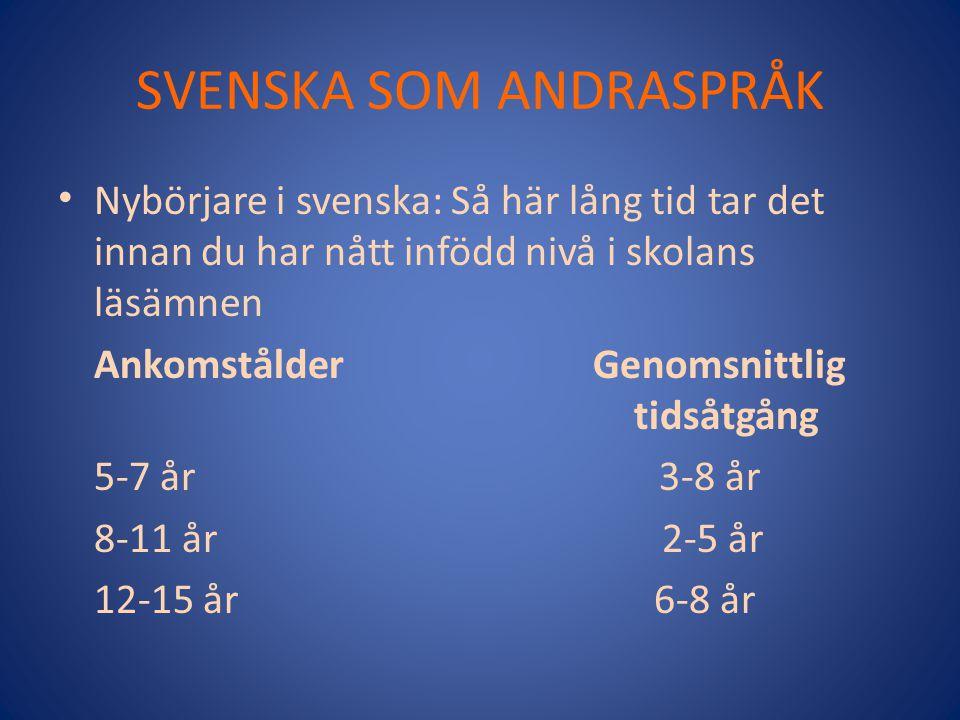 SVENSKA SOM ANDRASPRÅK Nybörjare i svenska: Så här lång tid tar det innan du har nått infödd nivå i skolans läsämnen Ankomstålder Genomsnittlig tidsåtgång 5-7 år 3-8 år 8-11 år 2-5 år 12-15 år 6-8 år