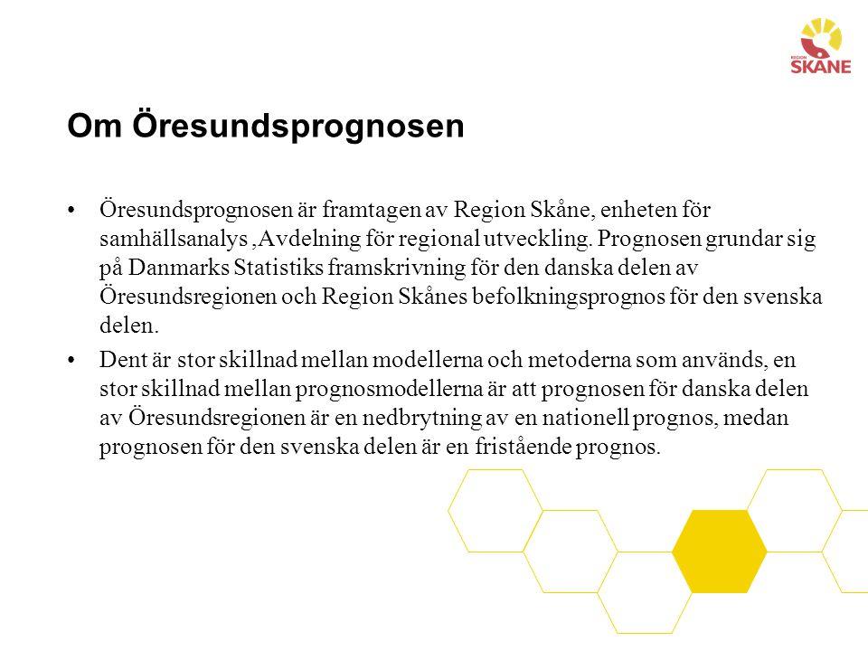 Om Öresundsprognosen Öresundsprognosen är framtagen av Region Skåne, enheten för samhällsanalys,Avdelning för regional utveckling. Prognosen grundar s