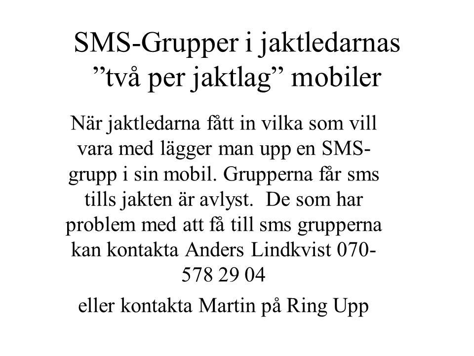 SMS-Grupper i jaktledarnas två per jaktlag mobiler När jaktledarna fått in vilka som vill vara med lägger man upp en SMS- grupp i sin mobil.