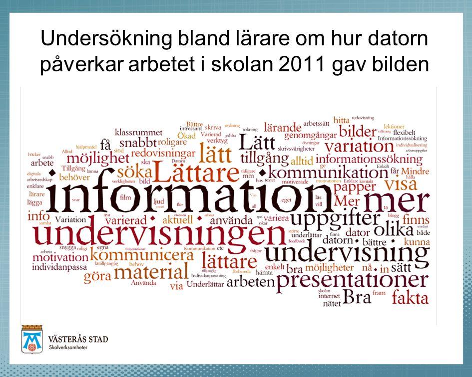 Undersökning bland lärare om hur datorn påverkar arbetet i skolan 2011 gav bilden