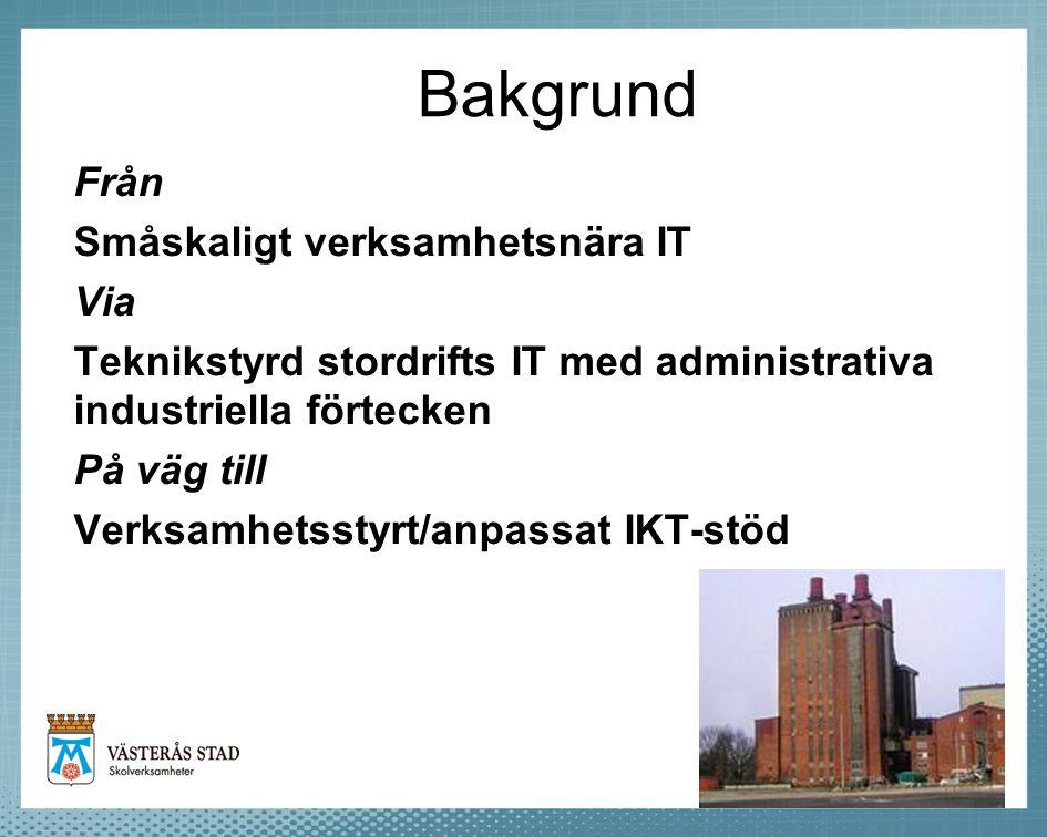 Bakgrund Från Småskaligt verksamhetsnära IT Via Teknikstyrd stordrifts IT med administrativa industriella förtecken På väg till Verksamhetsstyrt/anpas
