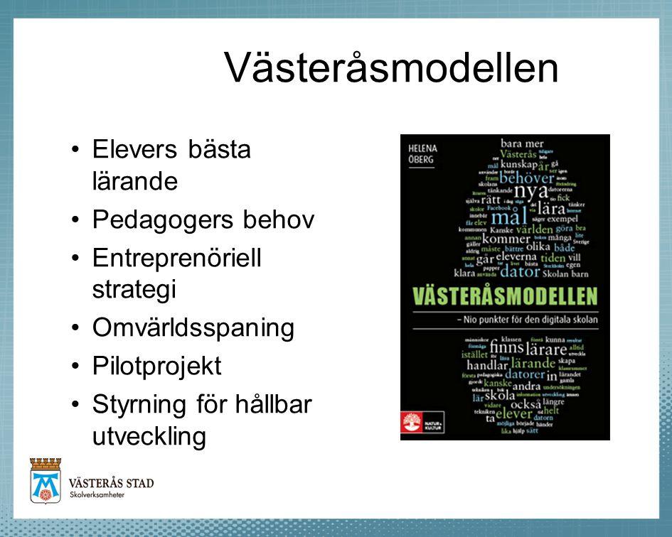 Västeråsmodellen Elevers bästa lärande Pedagogers behov Entreprenöriell strategi Omvärldsspaning Pilotprojekt Styrning för hållbar utveckling