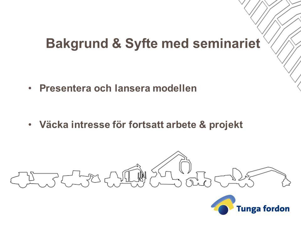 Bakgrund & Syfte med seminariet Presentera och lansera modellen Väcka intresse för fortsatt arbete & projekt