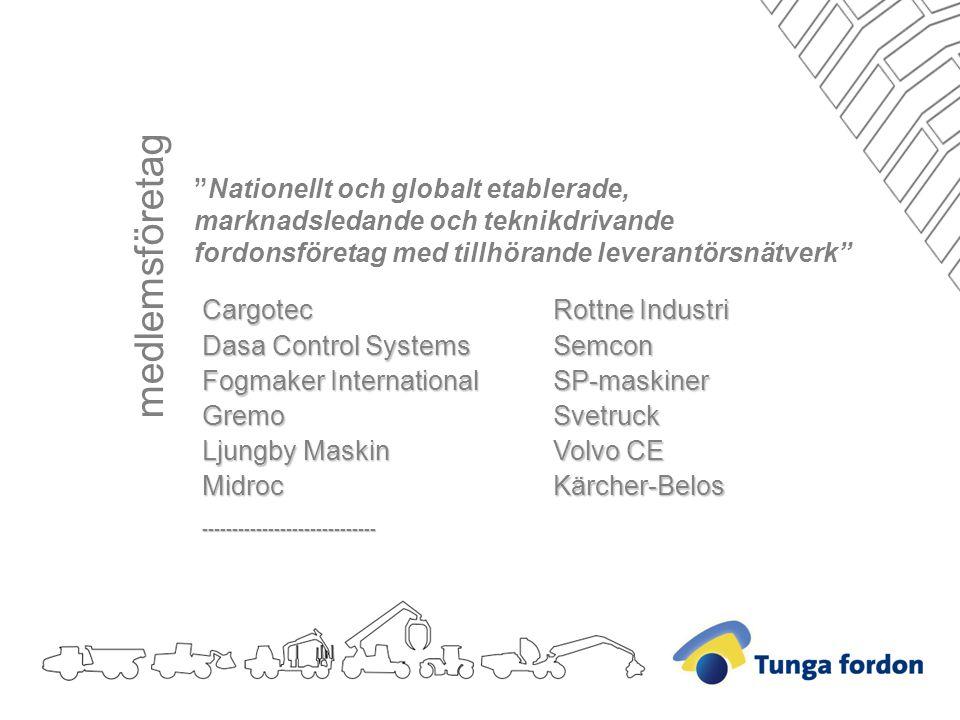Nationellt och globalt etablerade, marknadsledande och teknikdrivande fordonsföretag med tillhörande leverantörsnätverk Rottne Industri SemconSP-maskinerSvetruck Volvo CE Kärcher-BelosCargotec Dasa Control Systems Fogmaker International Gremo Ljungby Maskin Midroc----------------------------- medlemsföretag