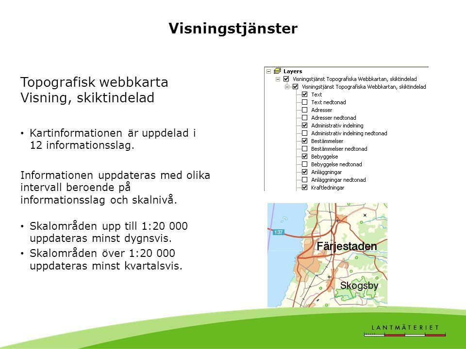 Topografisk webbkarta Visning, skiktindelad Kartinformationen är uppdelad i 12 informationsslag.