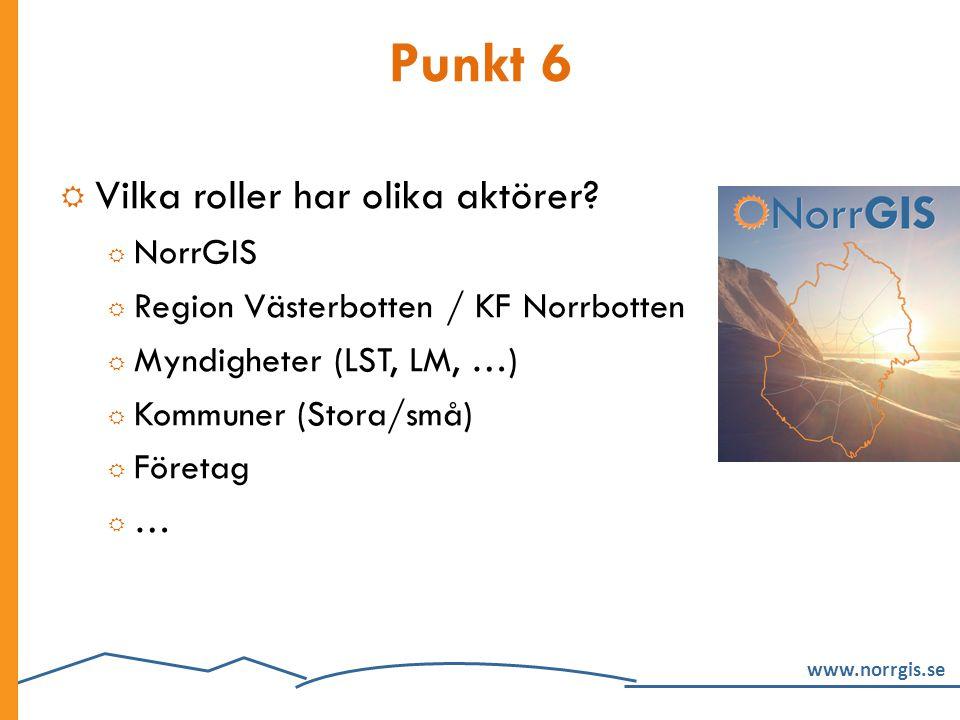 www.norrgis.se Punkt 6  Vilka roller har olika aktörer?  NorrGIS  Region Västerbotten / KF Norrbotten  Myndigheter (LST, LM, …)  Kommuner (Stora/