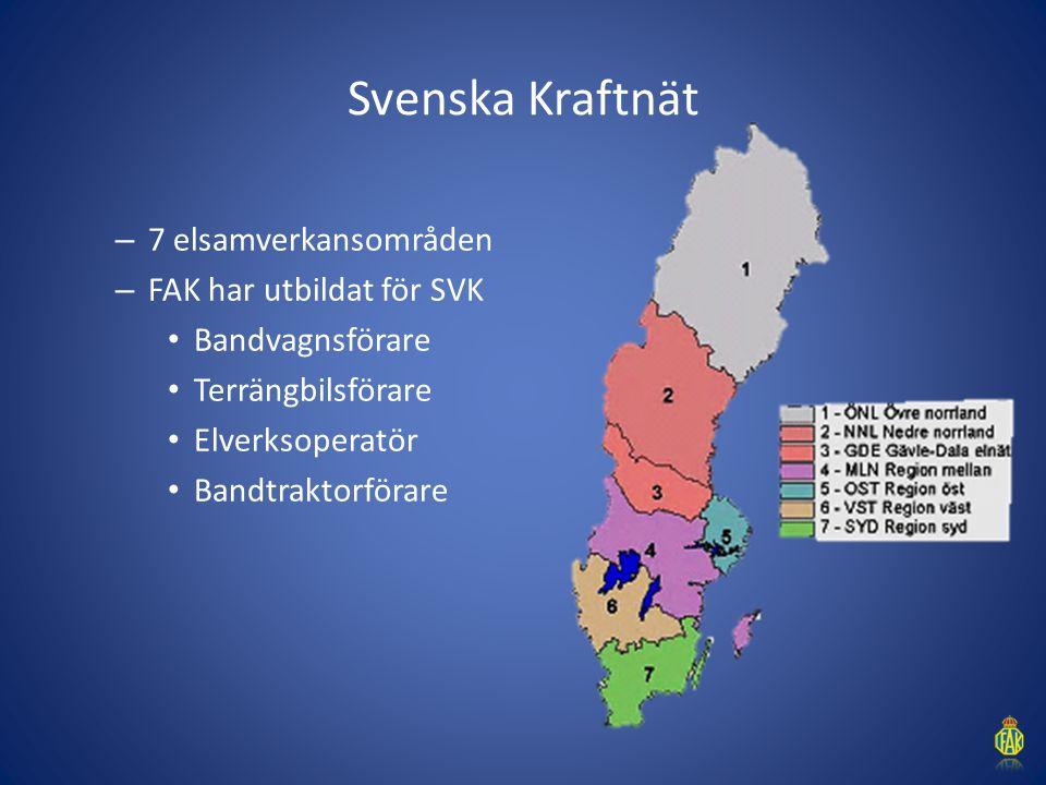 Svenska Kraftnät – 7 elsamverkansområden – FAK har utbildat för SVK Bandvagnsförare Terrängbilsförare Elverksoperatör Bandtraktorförare