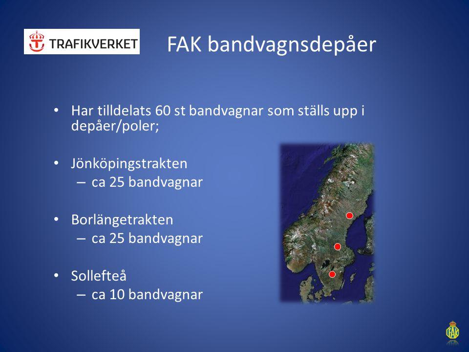 FAK bandvagnsdepåer Har tilldelats 60 st bandvagnar som ställs upp i depåer/poler; Jönköpingstrakten – ca 25 bandvagnar Borlängetrakten – ca 25 bandva