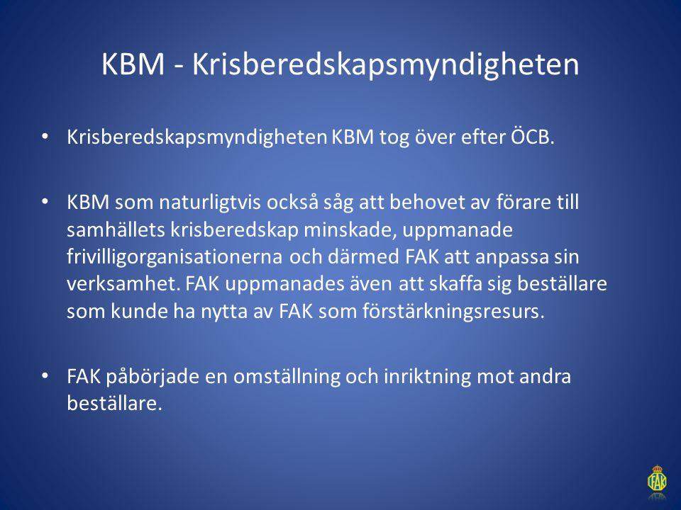 KBM - Krisberedskapsmyndigheten Krisberedskapsmyndigheten KBM tog över efter ÖCB. KBM som naturligtvis också såg att behovet av förare till samhällets