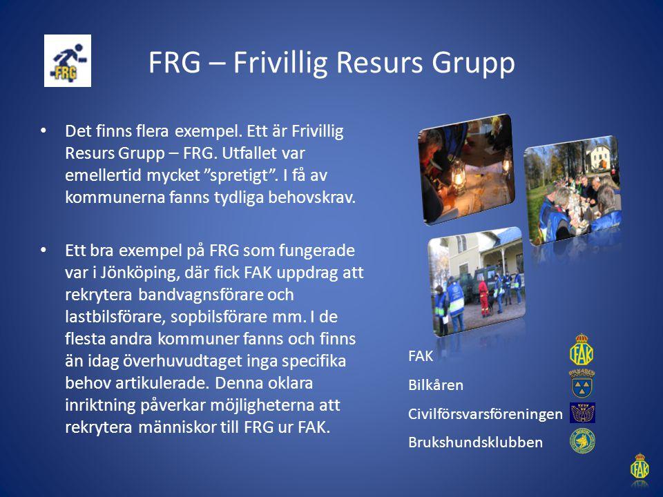 """FRG – Frivillig Resurs Grupp Det finns flera exempel. Ett är Frivillig Resurs Grupp – FRG. Utfallet var emellertid mycket """"spretigt"""". I få av kommuner"""