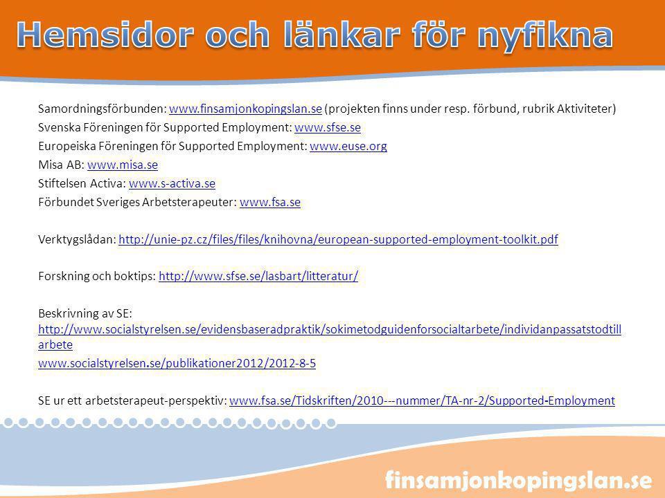 finsamjonkopingslan.se Samordningsförbunden: www.finsamjonkopingslan.se (projekten finns under resp. förbund, rubrik Aktiviteter)www.finsamjonkopingsl