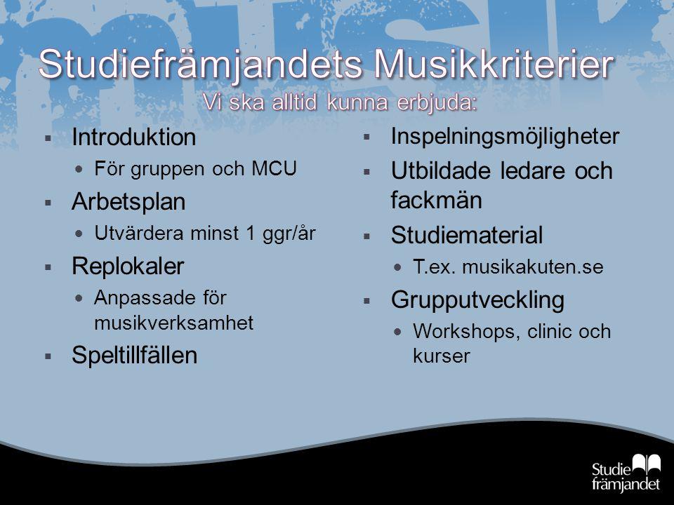  Introduktion För gruppen och MCU  Arbetsplan Utvärdera minst 1 ggr/år  Replokaler Anpassade för musikverksamhet  Speltillfällen  Inspelningsmöjl