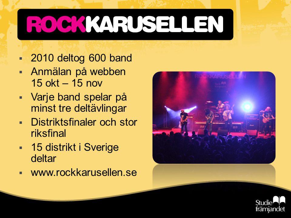  2010 deltog 600 band  Anmälan på webben 15 okt – 15 nov  Varje band spelar på minst tre deltävlingar  Distriktsfinaler och stor riksfinal  15 di