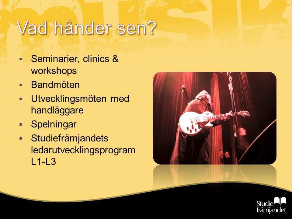  Seminarier, clinics & workshops  Bandmöten  Utvecklingsmöten med handläggare  Spelningar  Studiefrämjandets ledarutvecklingsprogram L1-L3