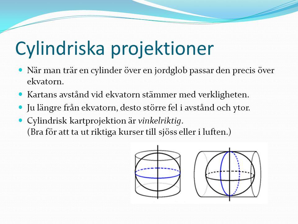 Cylindriska projektioner När man trär en cylinder över en jordglob passar den precis över ekvatorn. Kartans avstånd vid ekvatorn stämmer med verklighe