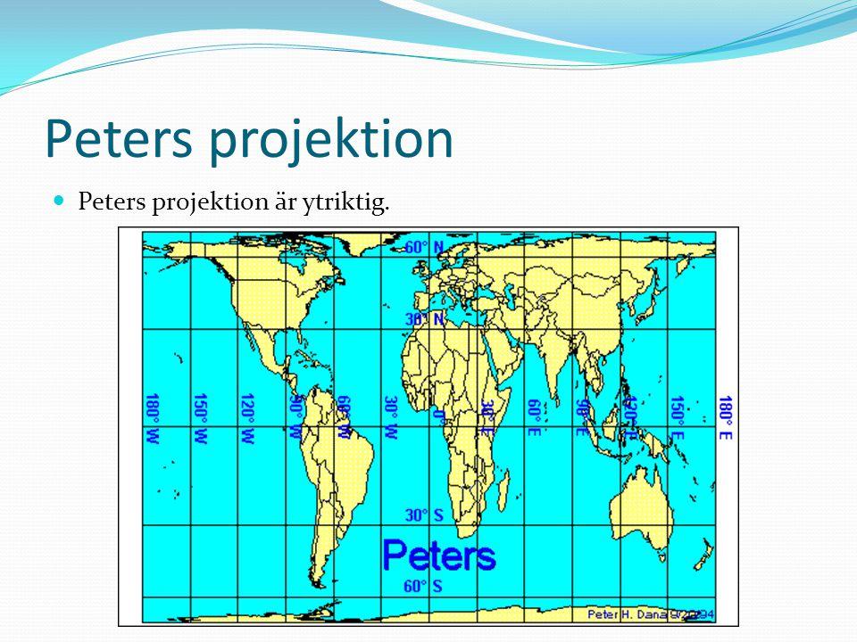 Peters projektion Peters projektion är ytriktig.