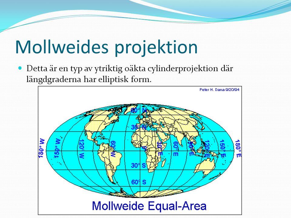 Mollweides projektion Detta är en typ av ytriktig oäkta cylinderprojektion där längdgraderna har elliptisk form.