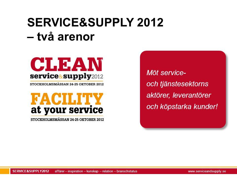 SERVICE&SUPPLY2012 affärer – inspiration – kunskap – relation – branschstatuswww.serviceandsupply.se Möt service- och tjänstesektorns aktörer, leveran
