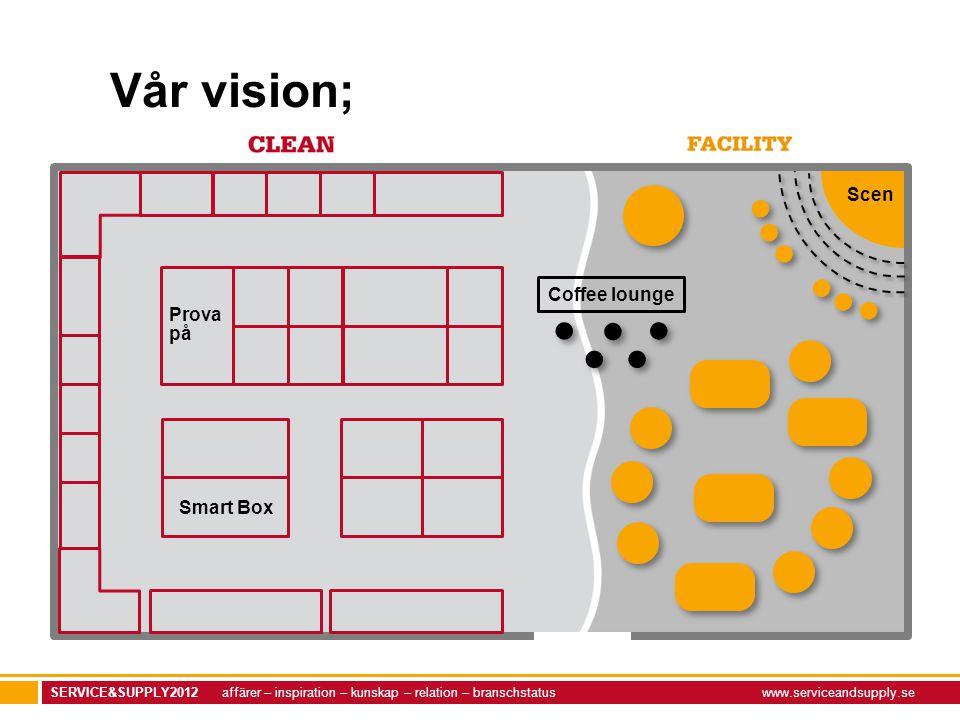 SERVICE&SUPPLY2012 affärer – inspiration – kunskap – relation – branschstatuswww.serviceandsupply.se Coffee lounge Smart Box Prova på Scen Vår vision;