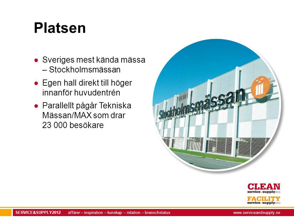 SERVICE&SUPPLY2012 affärer – inspiration – kunskap – relation – branschstatuswww.serviceandsupply.se Platsen ●Sveriges mest kända mässa – Stockholmsmä
