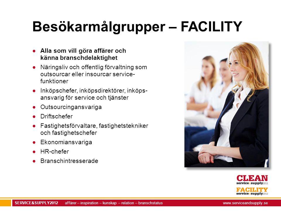 SERVICE&SUPPLY2012 affärer – inspiration – kunskap – relation – branschstatuswww.serviceandsupply.se Besökarmålgrupper – FACILITY ●Alla som vill göra