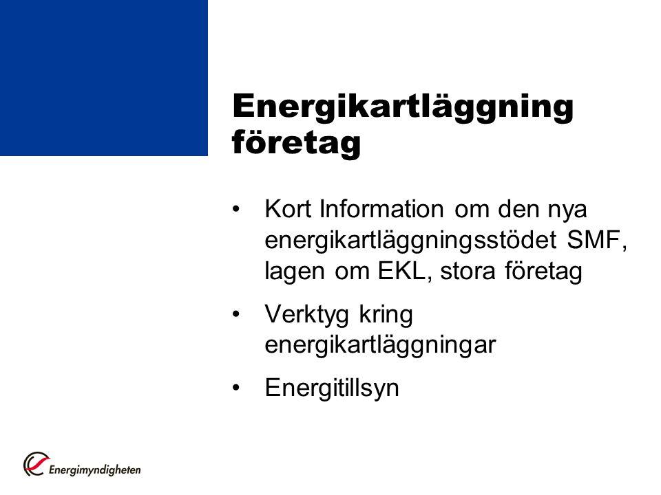 Energikartläggning företag Kort Information om den nya energikartläggningsstödet SMF, lagen om EKL, stora företag Verktyg kring energikartläggningar E