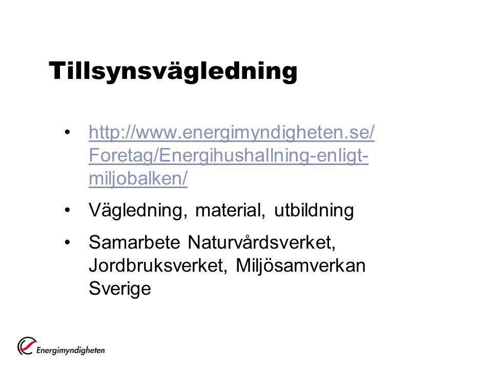 Tillsynsvägledning http://www.energimyndigheten.se/ Foretag/Energihushallning-enligt- miljobalken/http://www.energimyndigheten.se/ Foretag/Energihusha