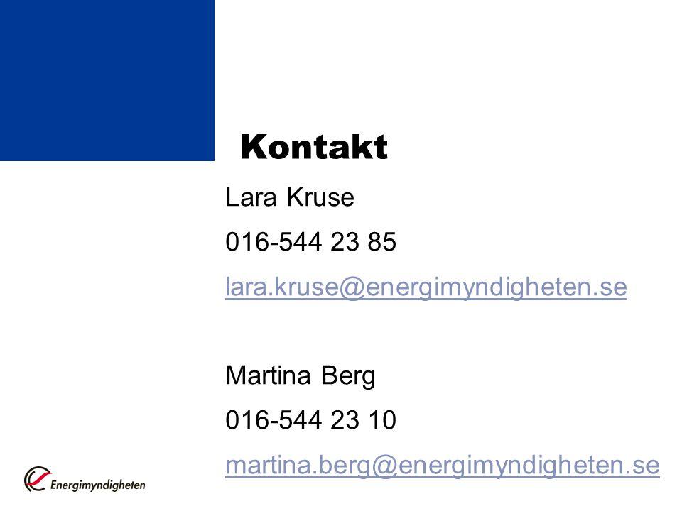 Kontakt Lara Kruse 016-544 23 85 lara.kruse@energimyndigheten.se Martina Berg 016-544 23 10 martina.berg@energimyndigheten.se Martina Berg