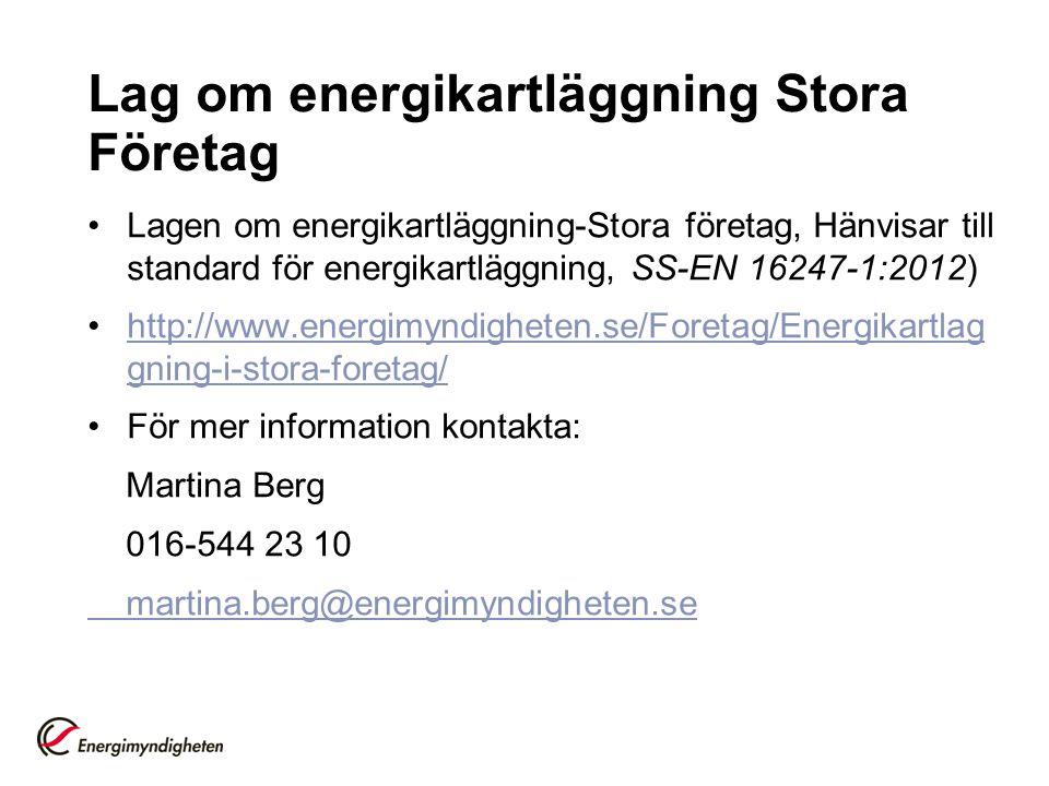 Lag om energikartläggning Stora Företag Lagen om energikartläggning-Stora företag, Hänvisar till standard för energikartläggning, SS-EN 16247-1:2012)
