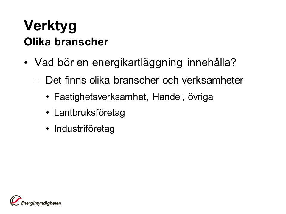 Verktyg Instruktioner http://www.energimyndigheten.se/Foretag/En ergieffektivisering-i- foretag/Energikartlaggningscheck---ett-stod- for-energikartlaggning/http://www.energimyndigheten.se/Foretag/En ergieffektivisering-i- foretag/Energikartlaggningscheck---ett-stod- for-energikartlaggning/