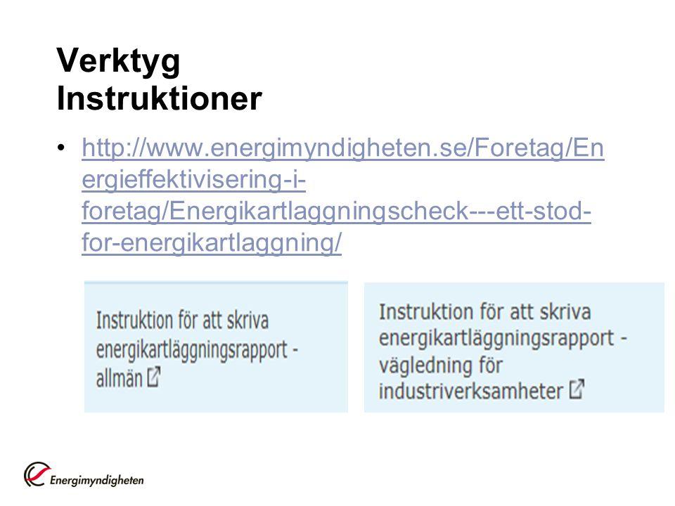 Verktyg Instruktioner http://www.energimyndigheten.se/Foretag/En ergieffektivisering-i- foretag/Energikartlaggningscheck---ett-stod- for-energikartlag