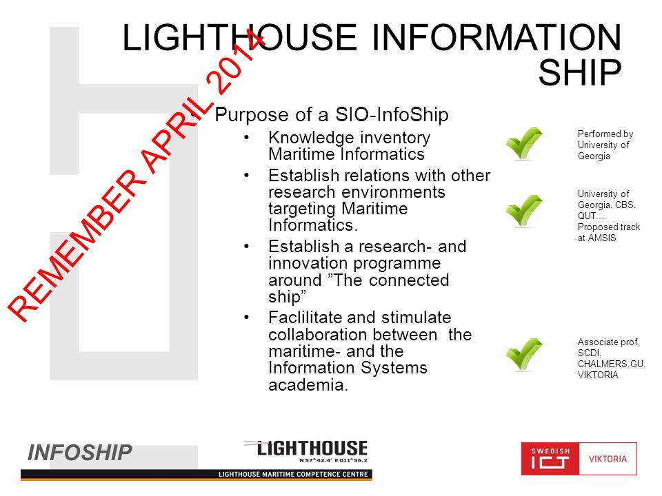 INFOSHIP LIGHTHOUSE INFORMATION SHIP Purpose of a SIO-InfoShip Knowledge inventory Maritime Informatics Establish relations with other research environments targeting Maritime Informatics.