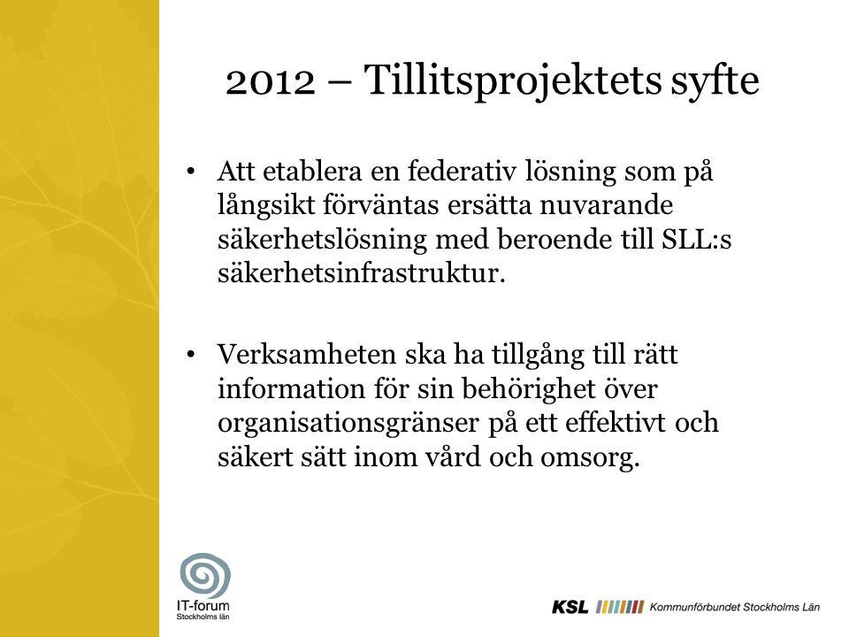 2012 – Tillitsprojektets syfte Att etablera en federativ lösning som på långsikt förväntas ersätta nuvarande säkerhetslösning med beroende till SLL:s