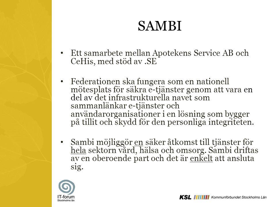 SAMBI Ett samarbete mellan Apotekens Service AB och CeHis, med stöd av.SE Federationen ska fungera som en nationell mötesplats för säkra e-tjänster ge