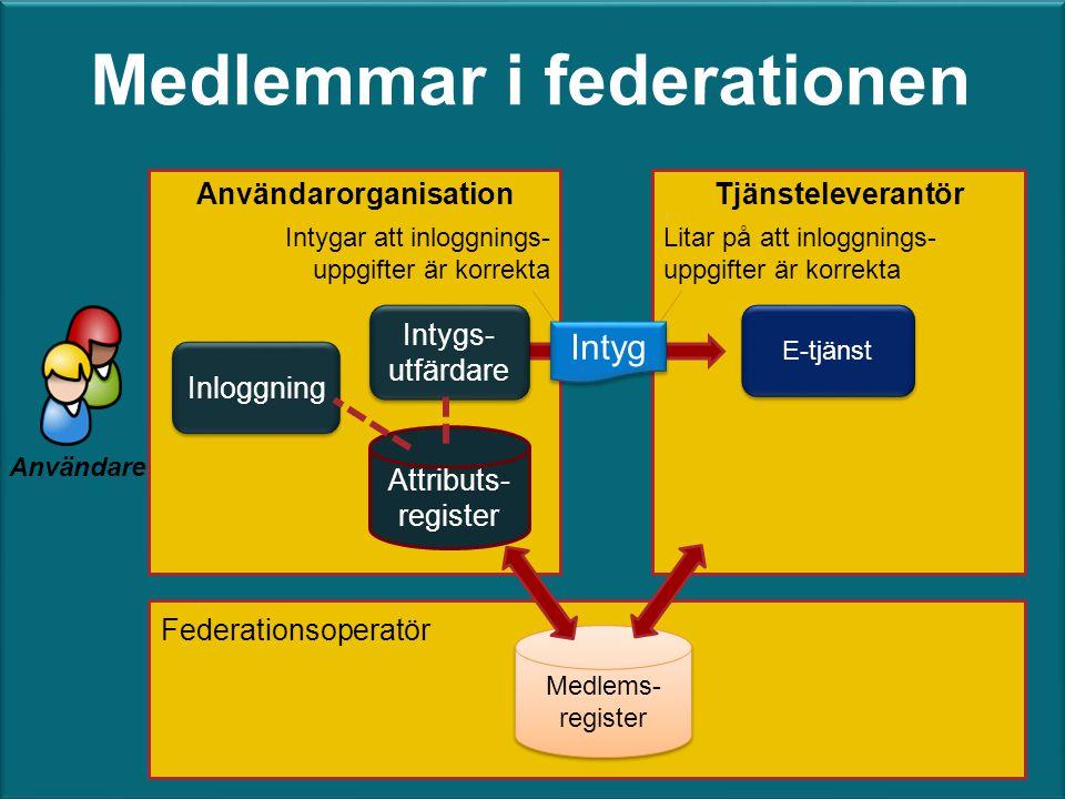 E-tjänst TjänsteleverantörAnvändarorganisation Inloggning Intyg Användare Medlems- register Medlems- register Federationsoperatör Medlemmar i federati