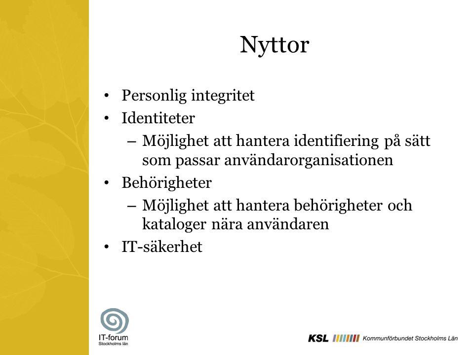 Nyttor Personlig integritet Identiteter – Möjlighet att hantera identifiering på sätt som passar användarorganisationen Behörigheter – Möjlighet att h