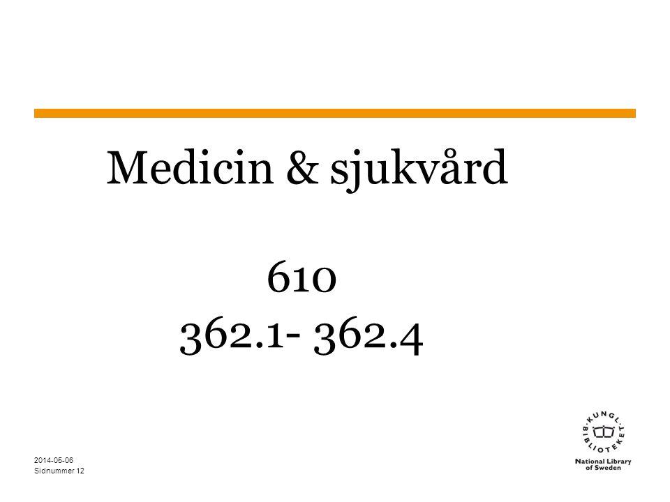 Sidnummer Medicin & sjukvård 610 362.1- 362.4 2014-05-06 12