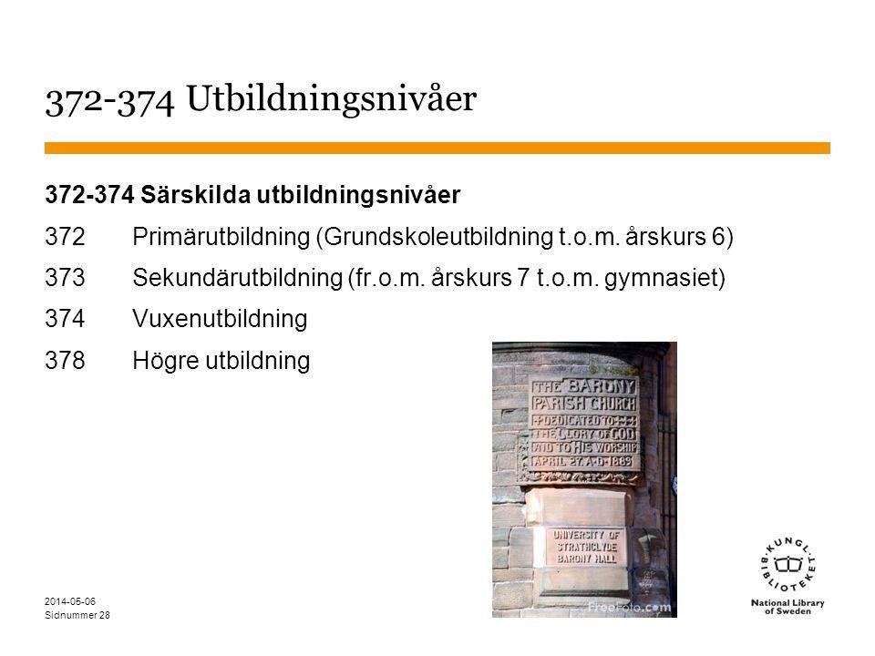 Sidnummer 28 372-374 Utbildningsnivåer 372-374 Särskilda utbildningsnivåer 372 Primärutbildning (Grundskoleutbildning t.o.m.