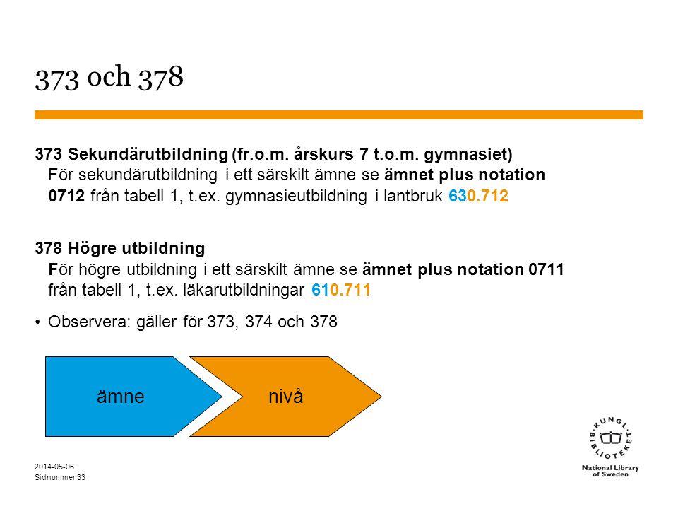 Sidnummer 33 373 och 378 373 Sekundärutbildning (fr.o.m.