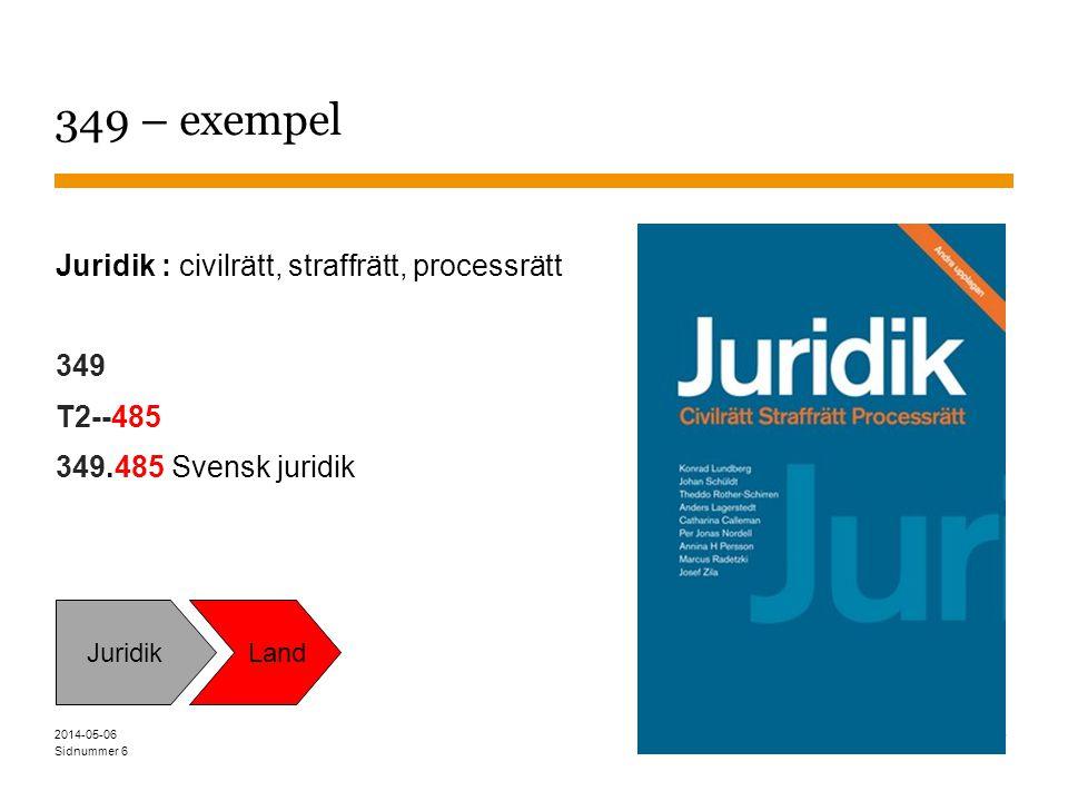 Sidnummer 6 349 – exempel Juridik : civilrätt, straffrätt, processrätt 349 T2--485 349.485 Svensk juridik Juridik Land 2014-05-06
